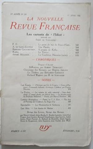 La Nouvelle Revue Francaise. Avril 1933: de Saint-Exupery, Antoine; Kafka, Franz; Malraux, Andre et...