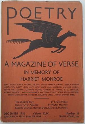 Poetry. A Magazine of Verse. In Memory of Harriet Moore. December 1936: Pound, Ezra; Stevens, ...