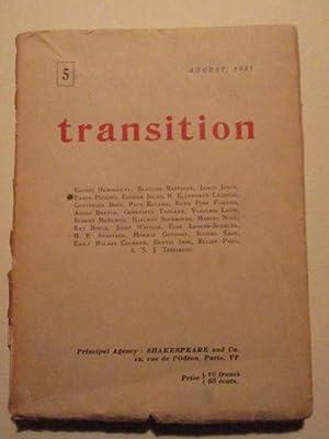Transition. Number 5. August, 1927: Joyce, James; Hemingway,