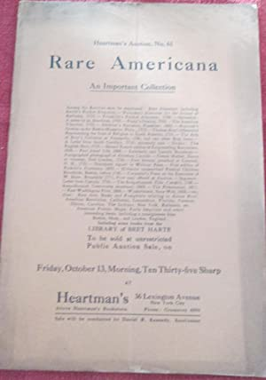 Heartman's Auction No. 61. Rare Americana. An Important Collection. Held October 13, 1916.