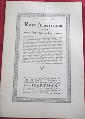 Heartman's Auction No. 60. Rare Americana Including many important and rare items. Held October 6...