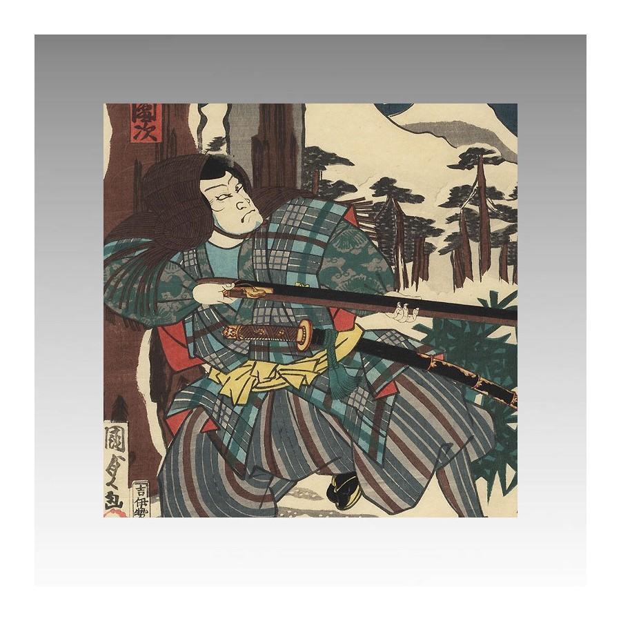 CAZADOR Y ZORRO MAGICO (KITSUNE) By Kunisada II (1823