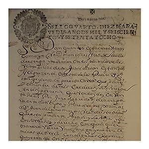 CARLOS II SELLO 4º AÑO 1678 (2 TIMBRES): Estepa (Sevilla)