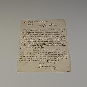 CARTA DIRIGIDA A RAMÓN DE MESONERO ROMANOS REMITIDA POR DOMINGO NIETO Y MÁRQUEZ (1803...