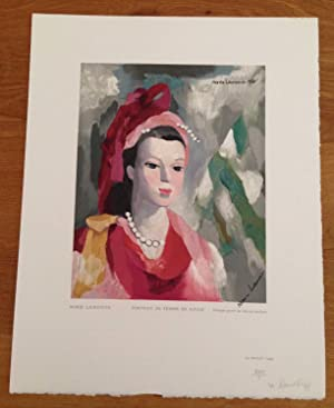 Portrait de Femme en Rouge, wood engraving in color: Marie Laurencin