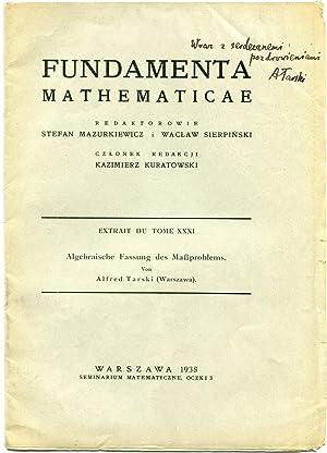 Algebraische Fassung des Maßproblems. Extrait de 'Fundamenta: TARSKI, Alfred