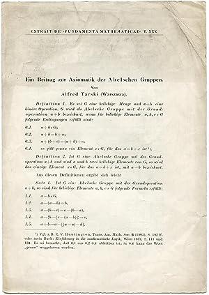 Ein Beitrag zur Axiomatik der Abelschen Gruppen.: TARSKI, Alfred