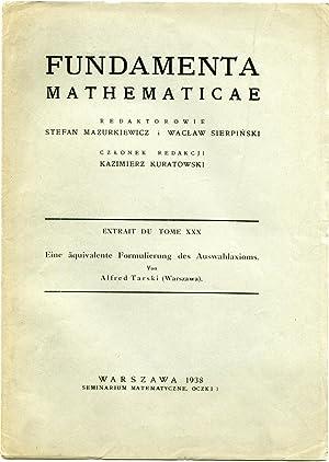 Eine äquivalente Formulierung des Auswahlaxioms. Extrait de 'Fundamenta Mathematicae&#x27...