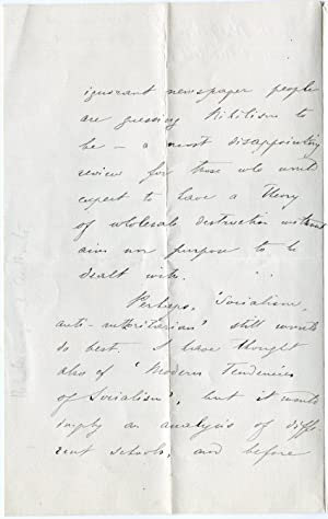 Autograph letter signed, about Nihilism and Socialism, Harrow-on-the-Hill, May 19th 1886.: ...
