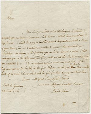 Autograph letter, signed, to Madame Octavie Belot,: HUME, David