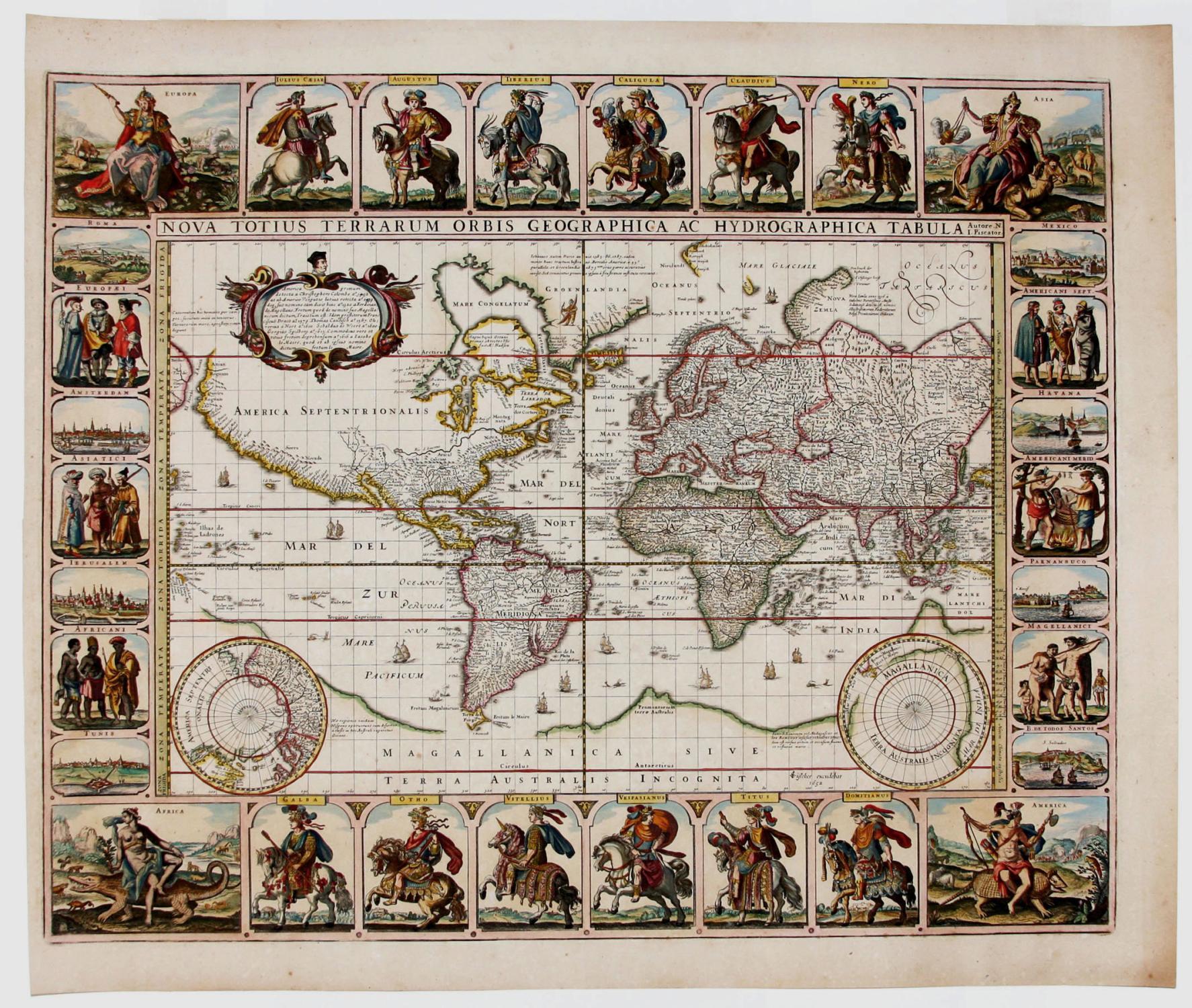 Nova Totius Terrarum Orbis Geographica Ac Hydrographica Tabula Autore. N. I. Piscator.: VISSCHER, C...