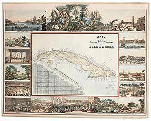 1. Mapa Historico Pintoresco Moderno de la Isla De Cuba.: MAY, Bernardo/ MIALHE, Frederic