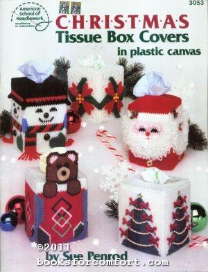 Christmas Tissue Box Covers in plastic canvas: Sue Penrod