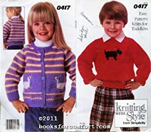 Easy Pattern Knits for Toddlers 0417 Knitting: Simplicity