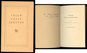 Inter folia fructus. Aus den Erinnerungen eines: Seiffhart, Arthur.