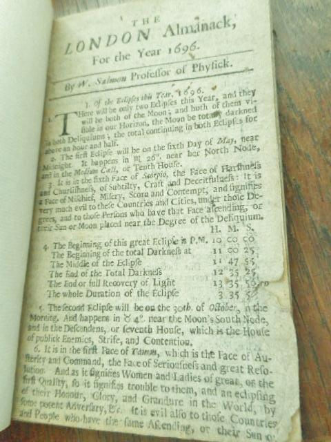 The London Almanack for the Year 1696: Salmon, William. (Professor of Physick)