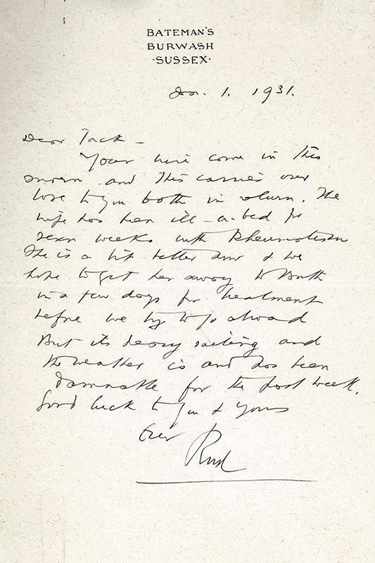 Rudyard Kipling Autograph Letter Signed. Kipling, Rudyard [ ] (bi_30601932956) photo