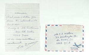 Simone de beauvoir Autographed Letter Signed.: de Beauvoir, Simone
