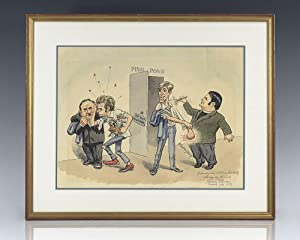 Original Halldor Petursson Watercolor Caricature of Bobby Fischer, Boris Spassky and William Lomb...
