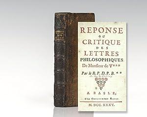 Reponse ou Critique des Lettres Philosophiques De: Villeray, Le Coq