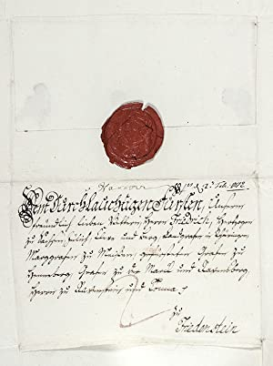 King George III Autograph Letter Signed to Frederic III, Duke of Saxe-Gotha-Altenburg.