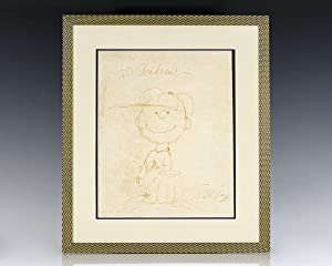 Charles Schulz Signed Charlie Brown Drawing.