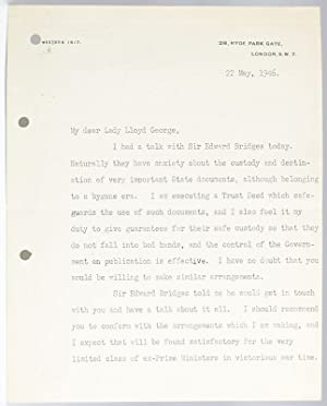 Winston S. Churchill Typed Letter Signed to Lady Lloyd-George.