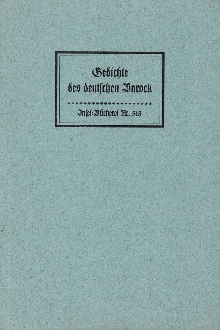 Inselbuchnr. 313 / 2 Gedichte des deutschen