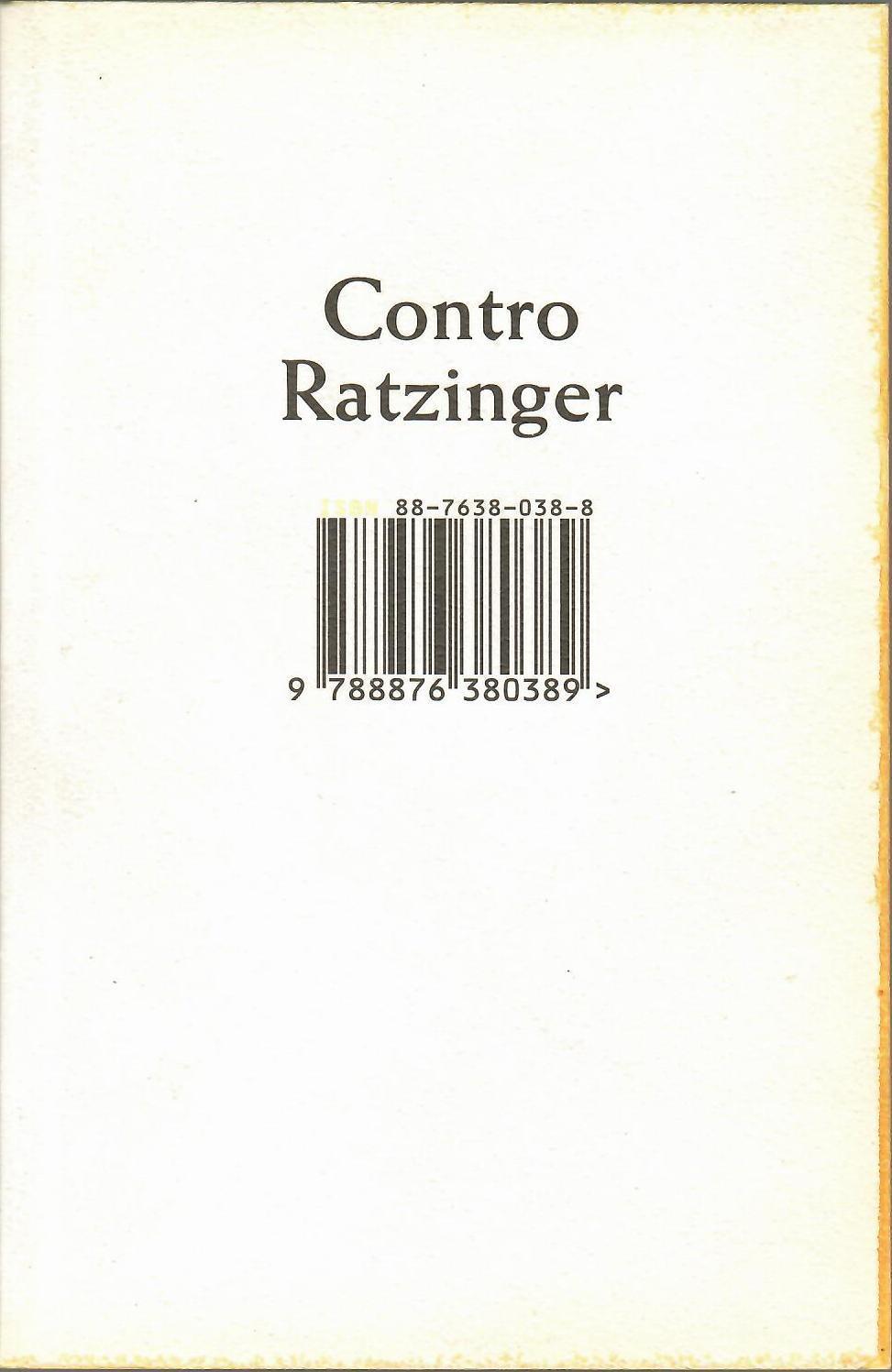 Contro Ratzinger - Anonimo