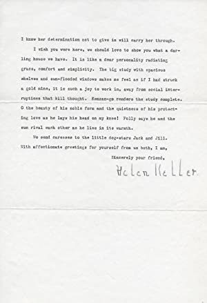Helen Keller Typed Letter Signed, on her Busy Lecturing Schedule, Her New Home and Love of Dogs