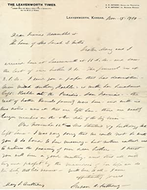 Susan B. Anthony Autograph Letter signed Memorializes Elizabeth Cady Stanton by Offering this Adv...
