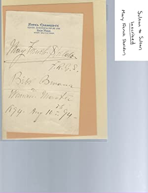 Mary French-Shelton, Sultan to Sultan, Signed, 1892