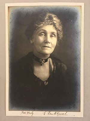 Emmeline Pankhurst Signed Photo with her Holloway Prison Brooch