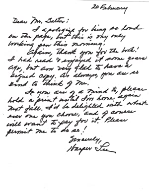Harper Lee Autograph Letter signed to a Fellow Author