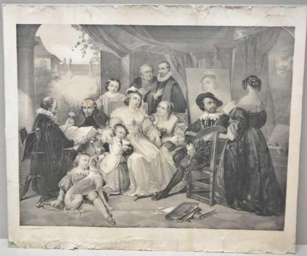 Rubens In His Study Antique Lithograph Print Von Druck U Verlag