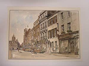 King's Parade, Cambridge, WATERCOLOUR PRINT: Martin, Philip