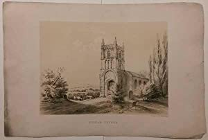 Higham on the Hill Church Leicestershire c1840 Antique Lithograph: F F Palmer