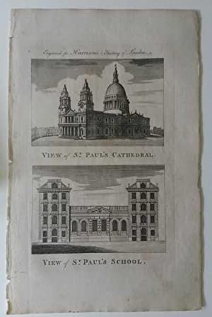 St. Paul's Cathedral and School London Original Engraving