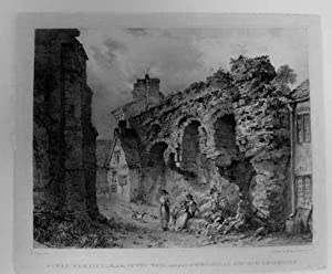 Roman Remains Leicester called the Jewry Wall and part of St. Nicholas Church Leicester PRINT