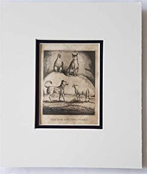 C18th Aquatint engraving print The Dog and the Sheep Fable 43