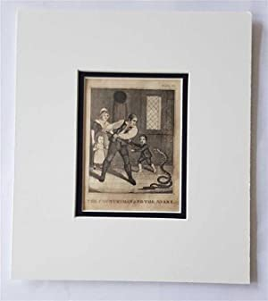 C18th Aquatint engraving print The Countryman and the Snake Fable 50
