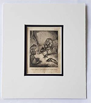 C18th Aquatint engraving print The Lion the Bear & the Fox Fable 38