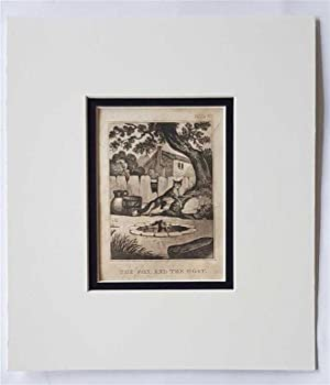 C18th Aquatint engraving print The Fox and the Goat Fable 60