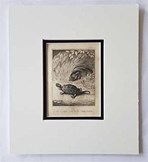 C18th Aquatint engraving print The Hare and the Tortoise Fable 70