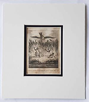 C18th Aquatint engraving print The Kite the Frog & the Mouse Fable 35