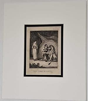 The Lion in Love C18th Aquatint engraving print Fable 108