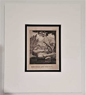 C18th Aquatint engraving print The Frog & The Fox Fable 4