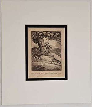 The Wolf the Fox and the Ape C18th Aquatint engraving print Fable159