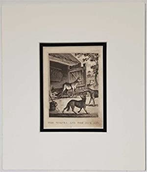 The Wolves and the Sick Ass C18th Aquatint engraving print Fable162