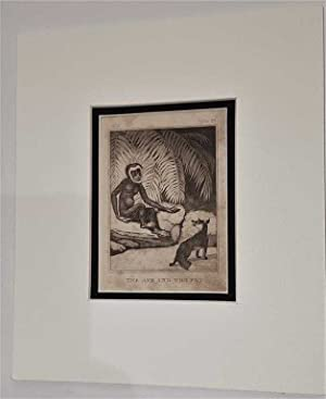 C18th Aquatint engraving print The Ape and the Fox Fable 28